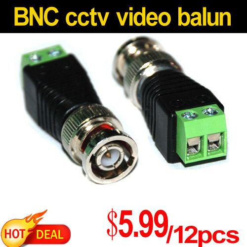 12Pcs/lot Mini Coax CAT5 To Camera CCTV BNC UTP Video Balun Connector Adapter BNC Plug For CCTV System Free Shipping(China (Mainland))