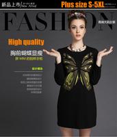 S-5XL Brand new Ladies black Butterfly Patchwork A line Dresses Autumn Winter Plus Size Women Black Long Sleeve Casual dress