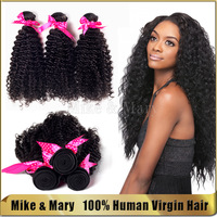 7A Grade 4bundles Mike & Mary Top Quality Brazilian Virgin Kinky Curly Human Hair Extensions Natural Color Brazilian Curly Hair