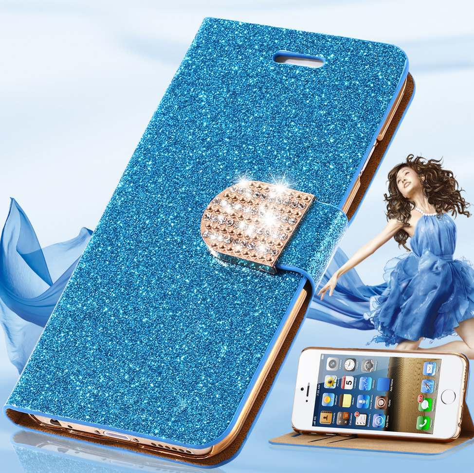For iPhone 6 Case Luxury Glitter Bling Crystal Diamond PU Leather Wallet Case For Apple iPhone 6 4.7 inch With Card Slots Cover(China (Mainland))