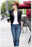 2015 Spring Autumn Pu Leather Plus Size Spliced jaquetas Zipper Striped Ladies' Motorcycle Bomber Jackets Women' Coats QY015