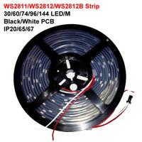 individually addressable 1m 2m 4m 5m waterproof ip65 ip67 5050 rgb 30 60 74 96 144 led/m 5v ws2811 ws2812 ws2812b led strip
