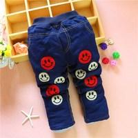 Wholesale New 2014 Autumn Jeans For Boy Emoji Jeans Baby Boys Jeans Designer Kids Jean Children's Elastic Waist Denim  Pant!1-4Y