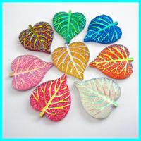 40*34mm Leaf Shape Rhinestone 50pcs/lot Accept Mix Color AB Resin Gemstone Cabochon Jewelry Accessories  Gemstone Pendent
