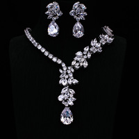 Platinum Plated AAA Clear Cubic Zircon Jewelry Sets ,Earrings /Necklace,Promotion,Nickel Free, Factory price