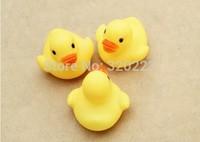 Promotions 15pcs/lot 4.2*4*3.5cm Mini Size Yellow Rubber duck Pvc bath toy Sound Floating Duck