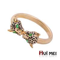 New Fashion Shiny Gold Plated Leopard Shaped Erinite Stone Statement Cuff Bangles Chunky Bracelets Noble Bijoux for Women Men