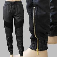Unisex Faux Leather Biker Jogger Pants Men Women Golden Zipper  PU Leather Trousers Harem Pants Taper US Size