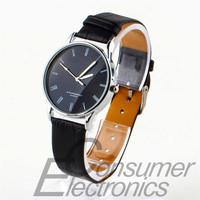 1Pcs Fashion Stainless Steel Quartz Men's PU Leather Roman Numeral Wrist Watch Newest