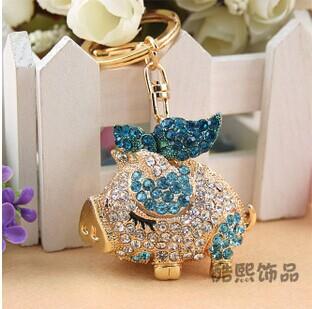 Fashion novelty gifts trinket rhinestone Cute bow pig keychain,charm gold plated women bag Pendant keyring Souvenirs llaveros(China (Mainland))