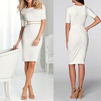 2014 New Women Short Sleeve Casual Dress Ladies O Neck Slim Hip Elegant One-piece Workwear Vestidos  S-XXL