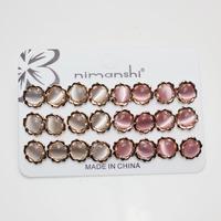 Wholesale Opal Metal Alloy Finish pink Flower Earrings (141128)