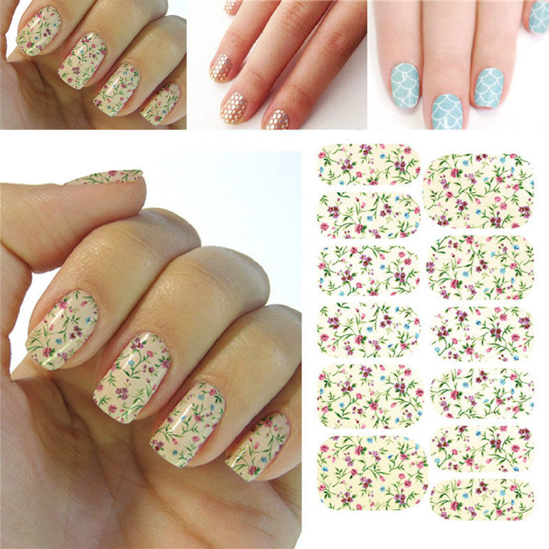 Nail Art Stickers Decals High Quality Floral Dazzle Flowers Mixed Colors Design Nail Tips Accessory Decoration Art Nail Stickers(China (Mainland))