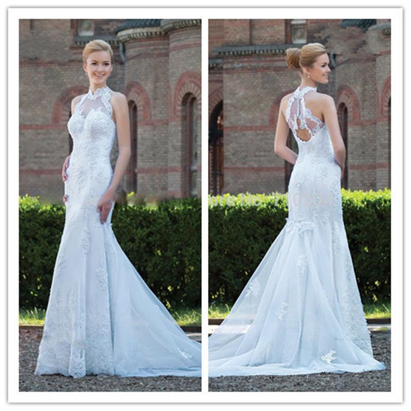 Mansa vestido de noiva 2015 concepteur. blanc, vintage en dentelle robe de mariée avec des manches sexy robes de mariée sirène chérie