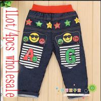Free shipping 2014 New Style children pants Emoji Pants design baby kids boys girls jeans winter kids trousers Wholesale/2-6y