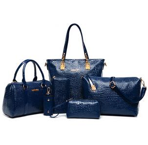 Fabrik! 6psc/lot neuestes frauen handtasche crossbody taschenmode Krokodil pu-leder frauen umhängetaschen messenger bags s014