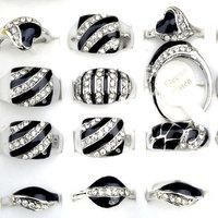 Wholesale 10PCs/lot Black Enamel Crystal Ring Multi Styles Crystal Rhinestone Crystal Black White Oil Rings Men/Women Rings