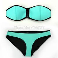 High-grade fluorescent blue zipper swimsuit  Neoprene Bikini Superfly Swimwear  Bottoms Neoprene bikini set   3030