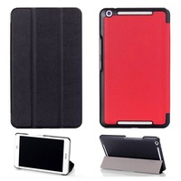 Fashion 3-Fold Custer Grain PU Leather Magnetic Closure Book Cover Case for Asus MeMO Pad 8 ME581CL Me581 With Stand RED