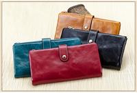 Free Shipping new Oil wax cowhide Women's Genuine Leather wallet,long style women's wallets purses,Lady's Handbags LYPL-3211Y