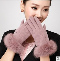 Touch screen warm gloves 2014 Gagaopt wool rabbit hair fur woman gloves elegant beading winter female knitting gloves