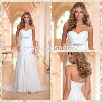 Vestido де Noiva 2015 новые прибытия платье белый / слоновая кость шифон модные свадебные платья Vestido халат де Mariage свадебные платья