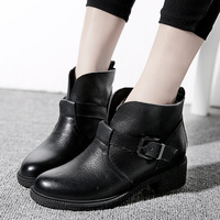2014 Casual Women winter shoes ankle boots low heels women genuine leather martin boot Women Motorcycle Boots winter