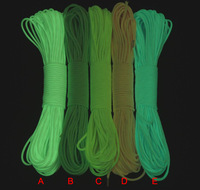 Wholesale 5m Glow in the dark Luminous paracord 9 strands survival camping rope