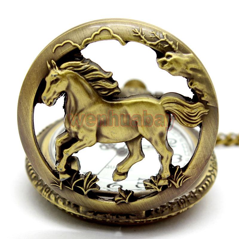 Free shipping Bronze horse Hollow Quartz Pocket Watch Necklace Pendant Womens Men GIfts P247(China (Mainland))