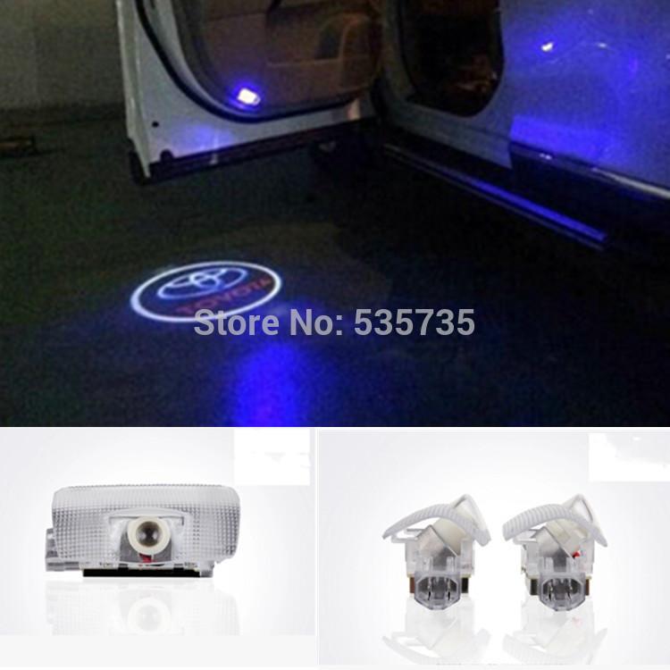 TOYOTA LED Car door Courtesy laser projector LED Logo Ghost Shadow light For Avensis Prado Reiz Camry HighLander Corolla(China (Mainland))