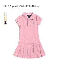 Retail SUMMER DRESS GIRL 100% cotton baby polo dresses children girls Brand dresses baby Pleated dress FOR KID 3 - 12year