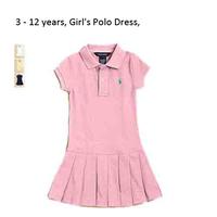 Retail SUMMER DRESS GIRL 100% cotton baby polo dresses children girls Brand dresses baby Pleated dress FOR KID 3 - 12year