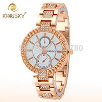 2014 New Luxury Rose Gold Watch Women Rhinestone Bracelet Dress Watch Ladies Quartz Watch Brand Kingsky Fashion Women Wristwatch