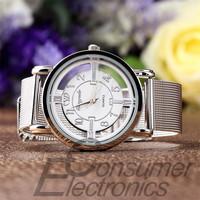 1pc Women Lady Fashion Stainless Steel Mesh Analog Bracelet Wrist Watch 2015 new