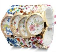 New Fashion GENEVA Rose Flower Watches Women Dress Watch stylish women casual watch Quartz Watches orologio ,free shipping