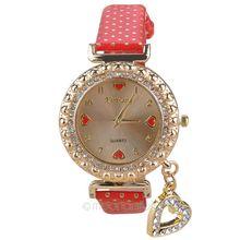 Fashion & Casual Watch Women Quartz Watches Leather Wrist Rhinestones Heart Ornament For Stylish Ladies Wristwatch FYMPJ621M5(China (Mainland))