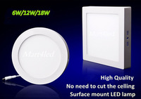 No Cut ceiling 6W 12W 18W AC85-265V Round and Square Ceiling Surface Mounted LED Panel Light for foyer and kitchen study