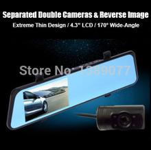 6000A автомобильный видеорегистратор зеркало заднего вида с двумя объективами камеры 4.3 дюймов TFT жк-full Hd 1080 P GPS g-сенсор камера заднего вида DVR рекордер