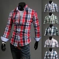 Free shipping Fashion Men 's shirt 2014 New Arrival long sleeve plaid shirt men's shirts size: M-4XL 6005