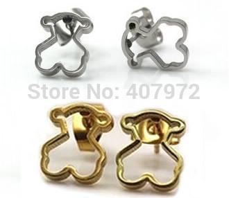 classic 2014 women earrings hollow stainless steel little bear earring te797