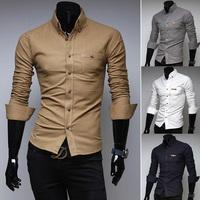 New Arrival 2014 Mens Slim fit Unique neckline stylish Dress long Sleeve Shirts Mens dress shirts Casual shirt  H763