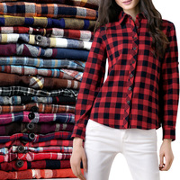 2014 100% cotton Flannel   plaid shirt female student women's long-sleeve plus size basic flannel shirt