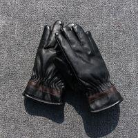 Autumn and winter male women's full PU thermal gloves finger gloves plus velvet thickening waterproof gloves