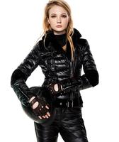 Fashion women black slim velvet patchwork down coat female short design suit motorcycle warm winter clothing free shipping
