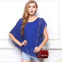 Batwing Sleeve Women Chiffon Blouse New 2015 Spring Summer Fashion Asymmetrical Tops Casual Blouses Ruffles T Shirts Blusas