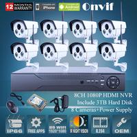 ONVIF 8CH H.264 NVR Security CCTV System 3TB HDD 1080P 2.0 Megapixel Full HD Waterproof Bullet Wireless WIFI Network IP Camera