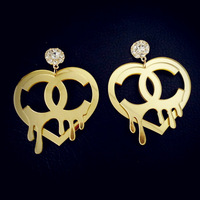 Fashion Jewelry Star Heart Gold Crystals Drop Earrings for Womens Acrylic HipHop Dangle Earring Woman Brincos Stage Accessories