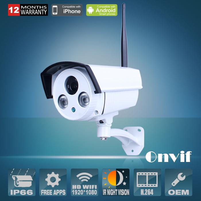 Onvif H.264 1080P HD 2.0Megapixel SONY Sensor 25fps Bullet Outdoor Security CCTV Wireless WIFI Network IP Camera(China (Mainland))