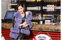 O-Neck Three Quarter Women Spliced Contrast Color Full Pelt Faux Fox Fur Coat PU Leather Lady Jackets with lantern Sleeve Winter