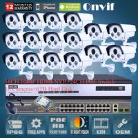 6TB HDD 24CH POE Switch 16CH NVR Network CCTV System Onvif 2.0 Megapixel 1080P Full HD Waterproof Array IR Network POE IP Camera